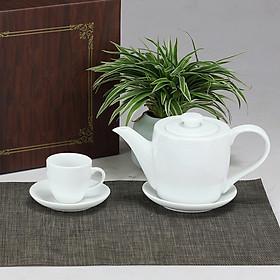 Bộ ấm chén men trắng thùng gốm sứ Bát Tràng (bộ bình uống trà, bình trà)