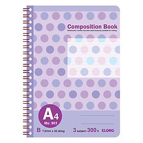 Sổ Lò Xo Kép Bìa Nhựa Klong A4 MS 903 (300 Trang)