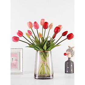Hoa giả, hoa tulip silicon trang trí phòng khách, decor bàn làm việc, kệ tủ, cửa hàng, màu sắc tự nhiên  giống thật AZ10