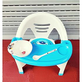 Ghế ăn dặm có nhạc - tặng bát kèm thìa ăn chống nhiệt,chống xước cho bé ( màu ngẫu nhiên)