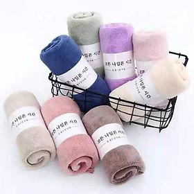 Khăn tắm bông thấm Hàn Quốc siêu mịn  70x140cm (Giao màu ngẫu nhiên)- Tặng kèm nón tắm trùm đầu hình thú