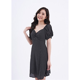 Đầm Nhún Ngực Chấm Bi Đen - Espresso Dress Maybi