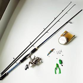 Bộ Cần Câu Lure máy đứng 2 ngọn + máy câu cá kim loại TFB 3000 + cước câu + 3 mồi câu lure + phụ kiện