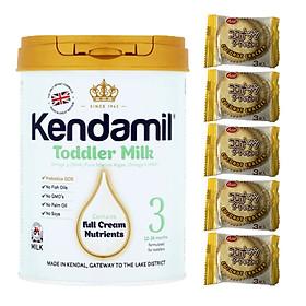 Sữa bột nguyên kem KENDAMIL số 3 TODDLER MILK 900g (cho bé từ 1-3 tuổi) - Tăng sức đề kháng, tăng cân, phát triển chiều cao và trí não - Tặng 5 bánh quy Nhật Bản hiệu Aee