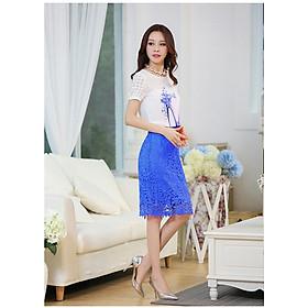 Set áo in họa tiết chiếc giầy và chân váy ren màu xanh SET070 - Free size