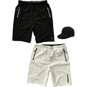 Combo 2 Quần shorts thể thao nam dạng sọt sport đùi chất thun lạnh 4 chiều cao cấp phù hợp tập gym hay mặc nhà màu trắng và đen DUI-P101 (tặng 1 nón)