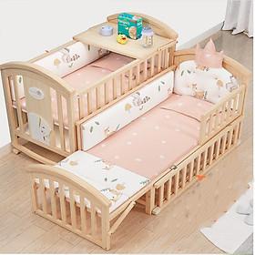 Giường cũi đa năng cho bé full set gồm nôi cũi kéo dài , màn chống muỗi , nệm xơ dừa , bộ quây cũi hoàng gia , gối