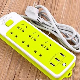 Ổ cắm điện đa năng chống giật 6 ổ cắm, 3 cổng USB-Xanh lá