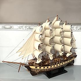 Mô hình thuyền gỗ thuyền trang trí tàu chở hàng France II - Gỗ muồng đen - Thân tàu dài 60cm - Buồm vải bố
