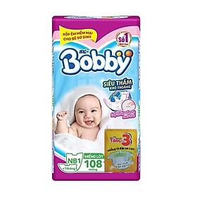 Miếng Lót Sơ Sinh Bobby Fresh Newborn 1 - 108 (108 Miếng) + 3 Miếng Tã Dán Bobby Xơ Sinh