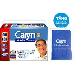 Tã Dán Siêu Thấm Caryn Gói Lớn Siêu Tiết Kiệm M-L40 (40 Miếng) + 1 Khăn Tắm Cotton Siêu Mềm