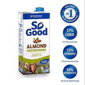 Sữa hạt hạnh nhân không đường So Good hộp 1L, làm từ hạnh nhân Úc, calo thấp, sản xuất tại Úc