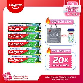 Bộ 5 kem đánh răng Colgate ngừa sâu răng răng chắc khỏe 225g/tuýp tặng bàn chải đánh răng lông tơ nhập khẩu Thái Lan
