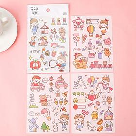 Set 4 tấm sticker cute dễ thương Hezi trang tri sổ tay sáng tạo handmade DIY siêu đẹp