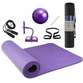 4pcs Home Exercise Kit Yoga Mat Pilates Ball Ankle Puller Jump Rope Fitness Yoga Mat Set for Home Gym Indoor Oudoor