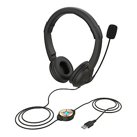 USB Wired Headset with Noise Cancelling Microphone On Ear Computer Headphone Call Center Earphone Volume Control Speaker