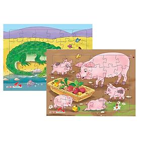 Bộ 2 tranh xếp hình A4, Đàn heo và cá sấu. Tia Sáng Việt Nam. Đồ chơi trí tuệ cho bé từ 3 tuổi. Chứng nhận hợp quy chủng loại Xếp hình số mảnh ghép lên đến 250 mảnh. Ký hiệu: Xếp hình.