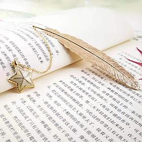 Bookmark Kim Loại Đánh Dấu Sách Hình Lông Vũ Dây Treo - Sao Biển