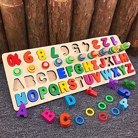 Đồ chơi gỗ cho bé học đếm số, cột tính bậc thang và bảng chữ cái MK tặng tập tô màu