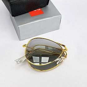 Kính râm nam nữ thời trang gọng gấp kim loại mắt kính thủy tinh đổi màu chống lóa chống tia UV