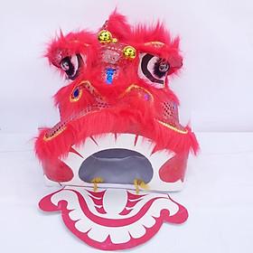 Đầu lân trung thu có đèn cỡ trung 40cm x 35cm x 35cm - màu đỏ