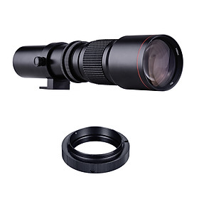 500mm F/8.0-32 Multi Coated Super Telephoto Lens Manual Zoom + T-Mount to A-Mount Adapter Ring Kit Replacement for Sony