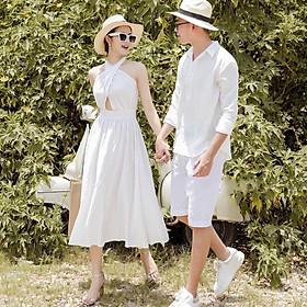 Set Áo váy đôi sơ mi cổ đắp chéo màu trắng lôi cuốn đồ cặp tình nhân đi biển đi chơi - Smice House
