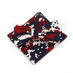 Bộ sản phẩm cà vạt thời trang sọc chấm xanh đỏ 02, nơ bướm  cho bé trai  đeo cổ và khăn tay