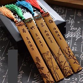 Bộ 4 bookmark mai lan cúc trúc bookmark trúc gỗ đánh dấu trang sách phong cách cổ trang cổ điển tặng thẻ Vcone