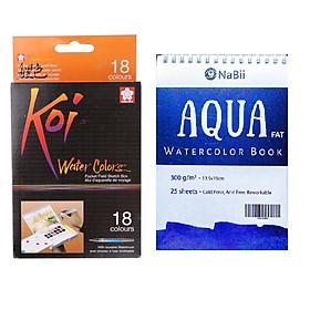 TẶNG SỔ VẼ MÀU NƯỚC - Màu Nước Nén Koi Water Colors Sakura 18 Màu - Tặng sổ vẽ màu nước Aqua Nabii A5