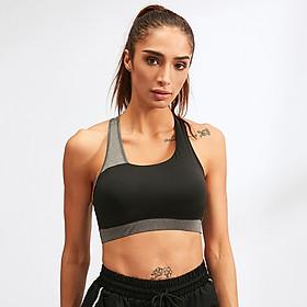 Women Sports Bra Padded Stretchable Quick Dry Breathable Cross-Back Spliced Yoga Fitness Gym Crop Bra Sportswear-6