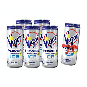 Lốc 5 Lon Nước Tăng Lực Virgo 250ml – Power Energy Drink Ice (Tặng kèm 1 Lon Nước Tăng Lực Virgo)