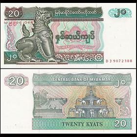 Tờ 20 kyats của Myanmar con Lân sưu tầm