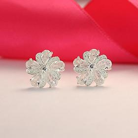 Bông tai nữ bạc 925 đẹp - Khuyên tai bạc nữ hình bông hoa đính đá cao cấp BTN0078