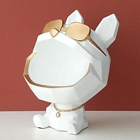 Cool Dog Figurine Bulldog Shape Storage Box Home Decoration Ornament Resin Art Sculpture Figurines Gift