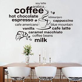Decal dán tường Chữ trắng đen Coffee - HP355