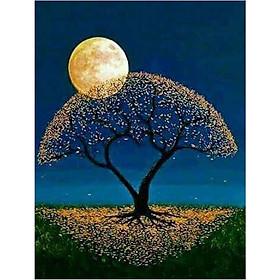 Moon Tree E012 Pattern 5D DIY Diamond Painting Embroidery Needlework Painting