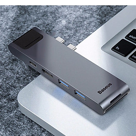 Bộ HUB chia cổng sạc 7 in 1 hiệu Baseus Thunderbolt Dual Type-C cho Macbook Pro mở rộng cổng sạc nhanh, 2 cổng USB 3.0, PD, SD, Micro SD, HDMI, Cổng mạng LAN  - Hàng chính hãng