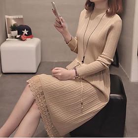 Đầm Bầu Thu Đông - Váy Len Phối Ren Điều Chỉnh Eo