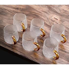 Bộ 6 cốc thủy tinh cao cấp quai vàng