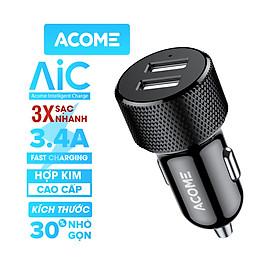 Tẩu sạc xe hơi ACOME ACC03 - 2 Cổng Sạc USB và PD QC 3.0, Công Suất 3.4A, Chất Liệu Hợp Kim Cao Cấp  - HÀNG CHÍNH HÃNG