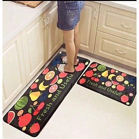 Bộ 2 thảm trang trí, thảm bếp cao cấp  (40x60 cm và 40x120 cm) họa tiết trái cây
