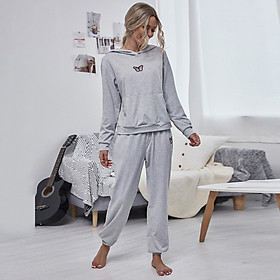 Women Tracksuit Loungewear 2 Piece Outfit Butterfly Hooded Pocket Pullover Sweatshirt Jogger Pants Sport Casual Pajamas