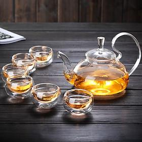 Bộ ấm chén pha trà thủy tinh 700ml trong suốt cao cấp chịu nhiệt