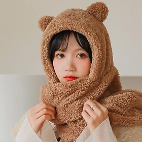 Mũ len tai gấu có khăn choàng cổ cực ấm