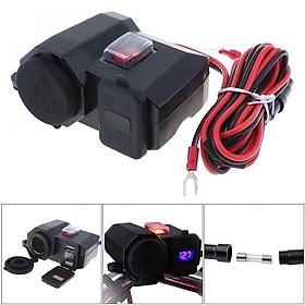 Mtsooning Đôi 12V USB Chống Nước Hệ Thống Cung Cấp Điện Xe Máy Điện Thoại Di Động GPS Cấp Nguồn Cổng Ổ Cắm Sạc