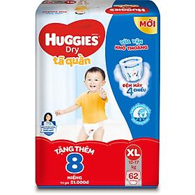 Tã Quần Huggies Dry Gói Cực Đại XL62 (62 Miếng) - Tặng Thêm 8 Miếng