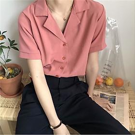Áo sơ mi tay ngắn màu trơn đơn giản thời trang cho nữ