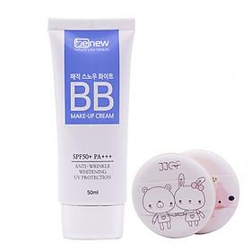 Kem nền trang điểm BB ma thuật che phủ hoàn hảo Hàn Quốc cao cấp Benew Magic Snow White SPF 50 PA+++  (50ml) + Tặng ngay Bông tán kem nền, phấn cute siêu mịn Suri (2 miếng/ túi) – Hàng chính hãng