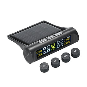 Solar TPMS Wireless Car Tire Pressure  Monitoring System with 4 External Sensors